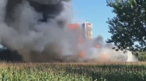 A barn went up in flames in Waterville