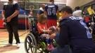 The Toronto Argonauts visited kids at Toronto's Holland Bloorview Kids Rehab on Friday.