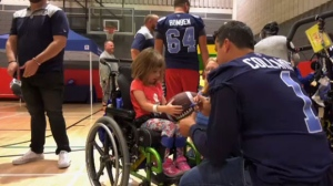 The Toronto Argonauts visited kids at Toronto's Holland Bloorview Kids Rehab on Friday.