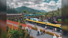 Survey, eco-hub transit project in Banff, train