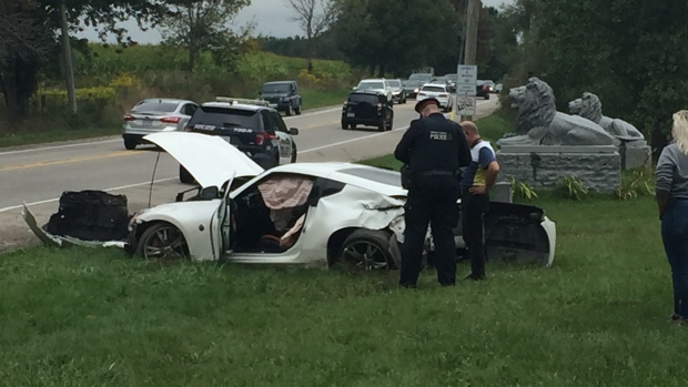 A vehicle after a crash in Kitchener