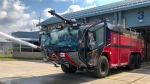 A Rosenbauer Panther 6x6 crash fire truck is seen at Toronto Pearson Airport. (Tom Podolec/CTV News Toronto)