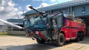 A Rosenbauer Panther 6x6 crash fire truck is seen at Toronto Pearson Airport. (Tom Podolec/CTV News Toronto)