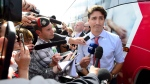 Liberal Leader Justin Trudeau makes a statement following a campaign stop in Saint-Hubert, Que., on Friday, Sept. 13, 2019. (THE CANADIAN PRESS / Sean Kilpatrick)