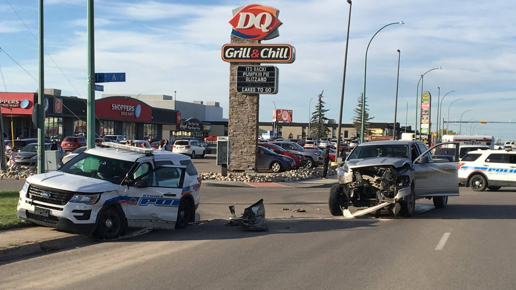 Pair taken to hospital following crash involving Regina police cruiser