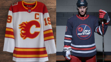 The throwback jerseys revealed for the Heritage Classic at Mosaic Stadium by the Calgary Flames (L) and Winnipeg Jets (R). (Twitter: NHL/Winnipeg Jets)