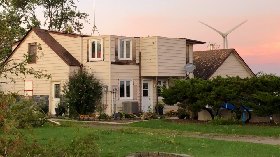 A home on the 5th concession in Amherstburg lost its roof after a storm moved through the area on September 12, 2019. ( Gord Bacon / AM800 News )