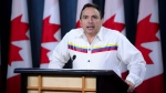 Assembly of First Nations (AFN) National Chief Perry Bellegarde releases 'Honouring Promises: 2019 Federal Election Priorities for First Nations and Canada' during a press conference at the National Press Theatre in Ottawa on Monday, Sept. 9, 2019. (THE CANADIAN PRESS/Sean Kilpatrick)
