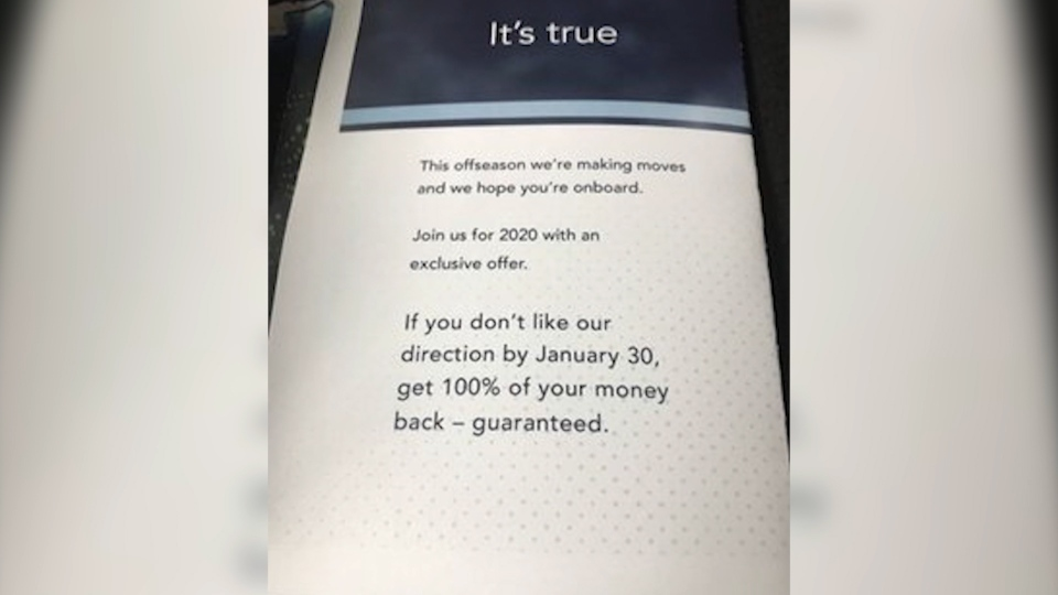 The message to fans was sent through the team's advertising for 2020 season tickets.