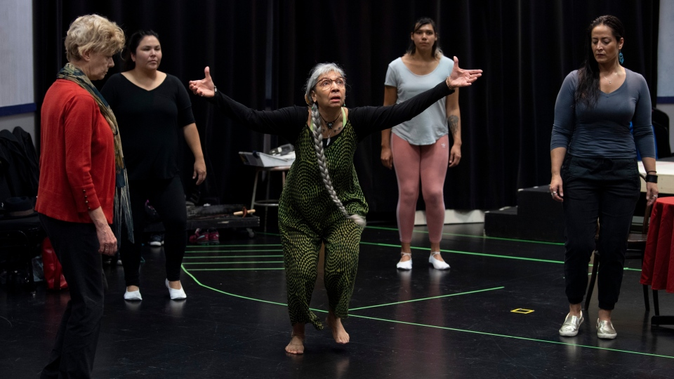 Monique Mojica performs with other cast members during a rehearsal for the NAC Indigenous Theatre's first production