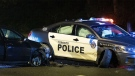 A police cruiser is seen after a collision involving an impaired driver in Malvern on Sept. 13, 2019. (John Hanley)