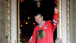 In this July 15, 2011, file photo, Chicago Blackhawks great Stan Mikita is introduced on opening night of the fourth annual Blackhawks Convention in Chicago. A posthumous study of Mikita's brain shows the hockey Hall of Famer suffered from chronic traumatic encephalopathy at the time of his death a year ago. Dr. Ann McKee, the director of the BU CTE Center, announced the findings during the Concussion Legacy Foundation's Chicago Honors Dinner on Friday night, Sept. 13, 2019, at the request of Mikita's family. (Brian Hill/Daily Herald via AP, File)