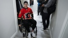 After more than a year since Humboldt Broncos player Ryan Straschnitzki was injured he is finally retuning home to Airdrie, Alta., on April 27, 2019. THE CANADIAN PRESS/Jeff McIntosh