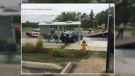 A car crashes through a bus shelter in Kitchener. (Sept. 13, 2019)