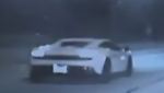 This image, taken from a video released by Newburgh Heights Police Department, shows the car of a driver pulled over for allegedly going 131 m.p.h. on a highway.