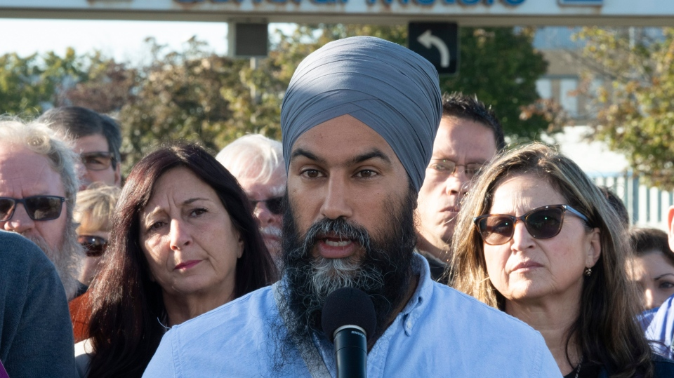 NDP leader Jagmeet Singh speaks during a campaign announcement in Oshawa, Ont. Saturday September 14, 2019. THE CANADIAN PRESS/Adrian Wyld
