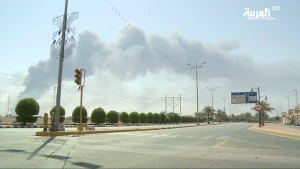 In this image made from a video broadcast on the Saudi-owned Al-Arabiya satellite news channel on Saturday, Sept. 14, 2019, smoke from a fire at the Abqaiq oil processing facility can be seen in Buqyaq, Saudi Arabia.  (Al-Arabiya via AP)