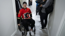 After more than a year since Humboldt Broncos player Ryan Straschnitzki was injured he is finally retuning home to Airdrie, Alta., on April 27, 2019. (THE CANADIAN PRESS/Jeff McIntosh)