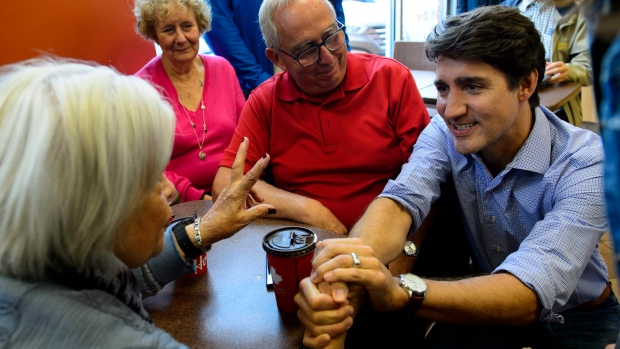 Liberal Leader Justin Trudeau makes a whistle stop in St-Felix-de-Valois, Que., on Saturday, Sept. 14, 2019. THE CANADIAN PRESS/Sean Kilpatrick