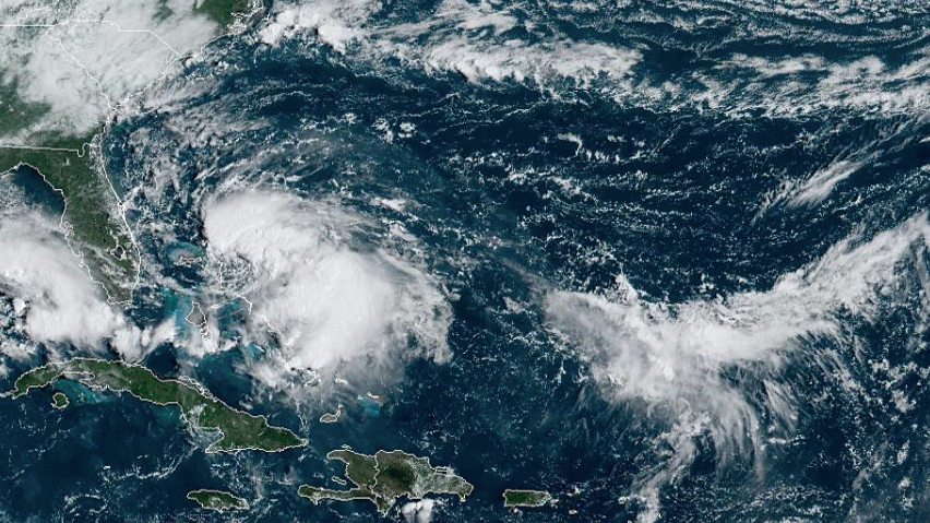 Tropical Storm Humberto can be seen in this image released by the National Oceanic and Atmospheric Administration.