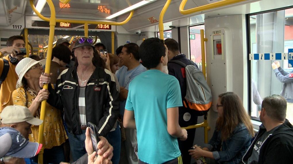 First riders use Ottawa's new LRT system