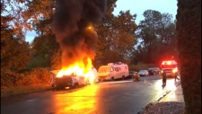 The resident of a motorhome parked on Malkin Avenue in Vancouver's Strathcona neighbourhood has been displaced after a fire destroyed the vehicle Saturday morning. (CTV)