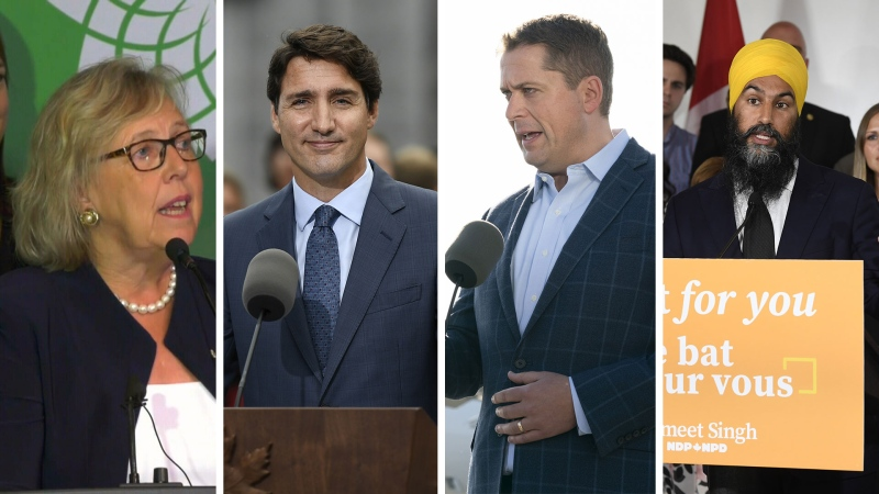 A composite photo of Green Party leader Elizabeth May, Liberal Party leader Justin Trudeau, Conservative party leader Andrew Scheer, NDP leader Jagmeet Singh.