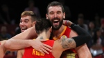 Spanish players Marc Gasol and Ricky Rubio celebrate after defeating Argentina in the FIBA Basketball World Cup Final, at the Cadillac Arena in Beijing, Sunday, Sept. 15, 2019. (AP Photo/Ng Han Guan)