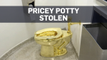 """FILE - This Sept. 16, 2016 file image made from a video shows the 18-karat toilet, titled """"America,"""" by Maurizio Cattelan in the restroom of the Solomon R. Guggenheim Museum in New York. Thieves have stolen the solid gold toilet worth up to 1 million pounds from Blenheim Palace, the birthplace of Winston Churchill. The toilet, the work of Italian conceptual artist Maurizio Cattelan, had been installed only two days earlier at Blenheim Palace, west of London, after previously being on show at the Guggenheim Museum in New York. (AP Photo, File)"""