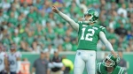 Saskatchewan Roughriders kicker Brett Lauther reacts after hitting a field goal against the Montreal Alouettes during first half CFL action in Regina on Saturday, Sept. 14, 2019. THE CANADIAN PRESS/Mark Taylor