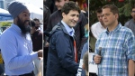 NDP Leader Jagmeet Singh, left, Liberal Leader Justin Trudeau, centre, and Conservative Leader Andrew Scheer, right, can be seen in this composite image.