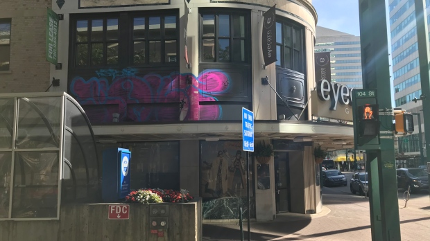 The Birks Building in downtown Edmonton with large graffiti spray painted on the side. Sept.15, 2019.