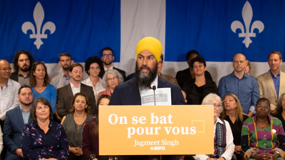 NDP leader Jagmeet Singh speaks to supporters during a campaign stop in Sherbrooke, Que., Sunday, September 15, 2019. THE CANADIAN PRESS/Adrian Wyld