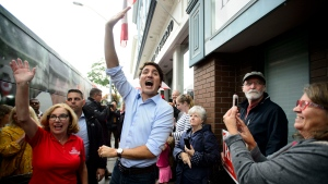 Liberal Leader Justin Trudeau is joined by Liberal candidate Kim Rudd as he makes a whistle stop in Cobourg, Ont., on Sunday, Sept. 15, 2019. THE CANADIAN PRESS/Sean Kilpatrick
