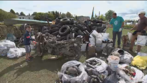 Garbage collected from river's bottom