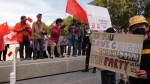 A protest in support of those going on in Hong Kong was held at the Alberta legislature on Sunday.