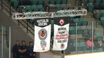 The Sutherland Cup championship banner is raised at the Rec Complex in Waterloo. (Sept. 15, 2019)
