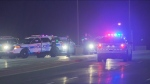 Emergency workers are shown at the scene of a shooting investigation on Highway 410 in Brampton. (CTV News Toronto)