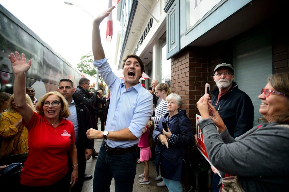 Liberal Leader Justin Trudeau is joined by Liberal candidate Kim Rudd as he makes a whistle stop in Cobourg, Ont., on Sunday, Sept. 15, 2019. (THE CANADIAN PRESS/Sean Kilpatrick)