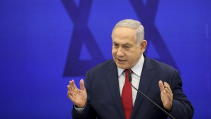 Israeli Prime Minister Benjamin Netanyahu speaks during a press conference in Tel Aviv, Israel, on Sept. 10, 2019. (Oded Balilty / AP)