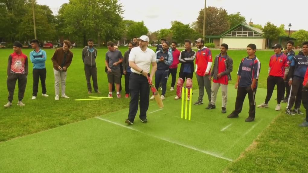 Batsmen and bowlers unveil cricket pitch at Van Horne Park in Snowdon