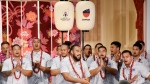 Samoa's rugby team players perform during a welcome ceremony for their team in Yamagata, northern Japan, Monday, Sept. 16, 2019, ahead of the Rugby World Cup in Japan. (Kyodo News via AP)