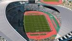 This June 9, 2002, aerial photo shows Miyagi Stadium during a World Cup soccer match between Mexico and Ecuador in Rifu town, Miyagi prefecture, northern Japan. (Kyodo News via AP)