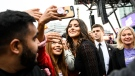 Bianca Andreescu greets fans during the SheTheNorth rally after winning the US Open, in Mississauga, Ont., on Sunday, Sept. 15, 2019. THE CANADIAN PRESS/Christopher Katsarov