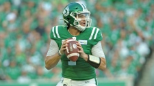 Saskatchewan Roughriders quarterback Cody Fajardo looks for a receiver during first half CFL action against the Montreal Alouettes in Regina on Saturday, Sept. 14, 2019. THE CANADIAN PRESS/Mark Taylor