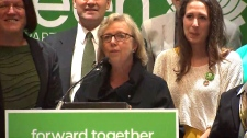 Green Party Leader Elizabeth May speaks