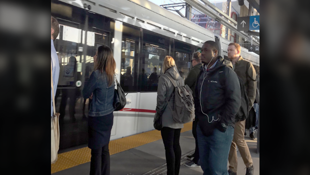 Ottawa's new light rail transit system passed its first big test during Monday morning's commute. (Graham Richardson/CTV)