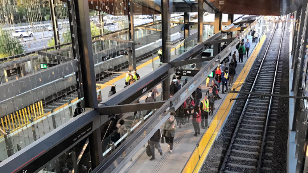 Passengers waiting for trains at Blair Station for the Monday morning commute. (Graham Richardson/CTV)