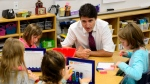 Liberal Leader Justin Trudeau makes a campaign stop at Sandowne Public School in Waterloo, Ont., on Monday, Sept. 16, 2019. THE CANADIAN PRESS/Sean Kilpatrick