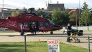 A STARS air ambulance was dispatched to the crash in Morinville Monday, Sept. 16, 2019. (CTV News Edmonton)